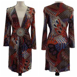 SKY Peacock Feather Long Sleeve Mini Plunge Dress